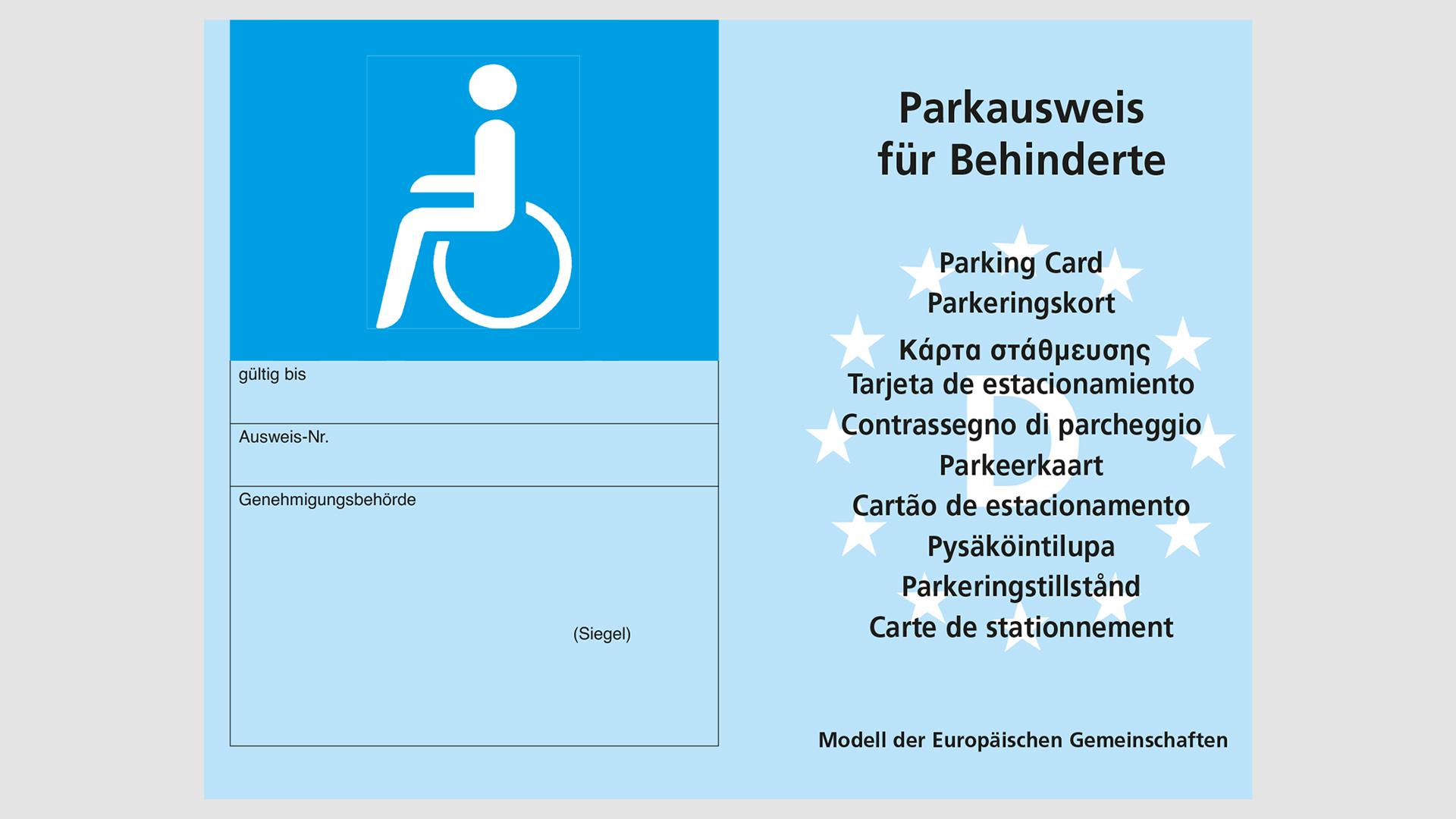 Parkausweis für Behinderte