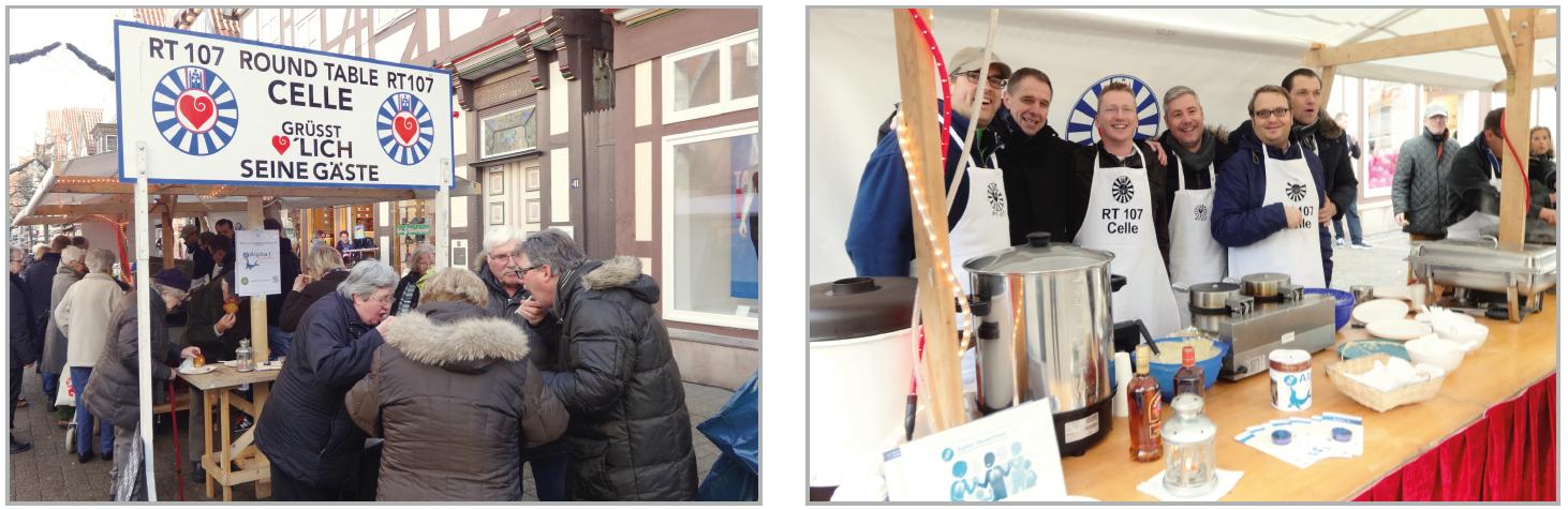 Mitglieder des Round Table 107 in Celle beim Verkauf von Waffeln