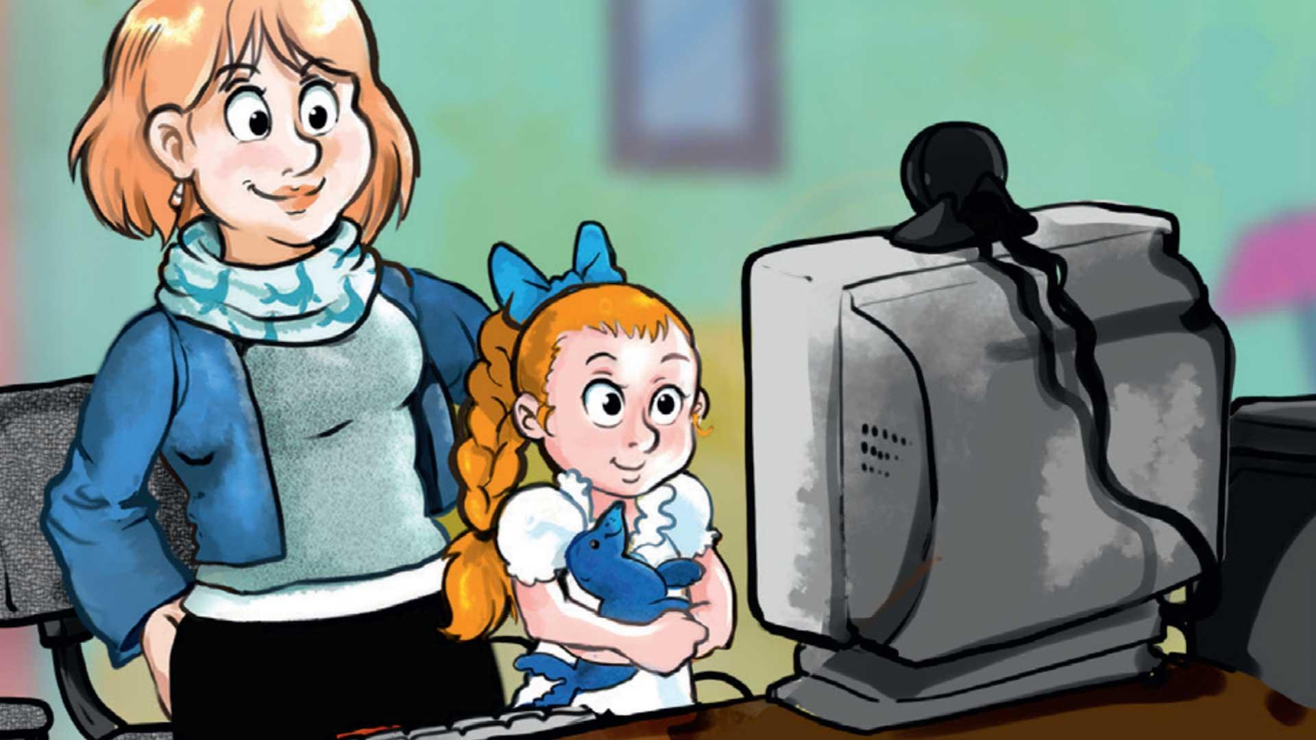 Alpha1-Familie beim Schauen des virtuellen Kindertages.