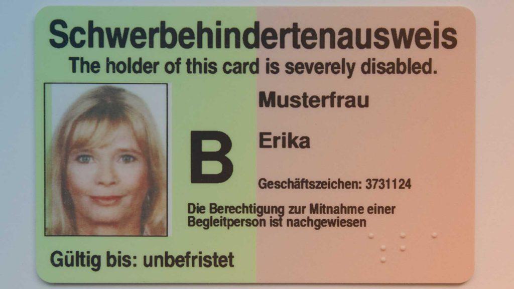 Muster: Schwerbehindertenausweis